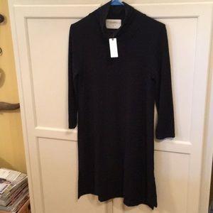 NWT Anthropologie Black Mock Turtleneck Dress SM